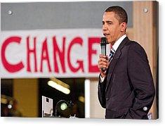 Barack Obama On Stage For Barack Obama Acrylic Print by Everett