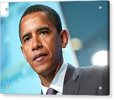 Barack Obama On Stage For Democratic Acrylic Print by Everett