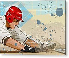Baseball Player Sliding Into Base Acrylic Print by Greg Paprocki