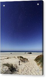 Beach Under A Full Moon Acrylic Print by Laurent Laveder