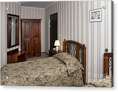 Beds In Hotel Room Acrylic Print by Jaak Nilson