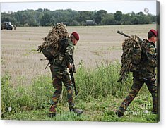 Belgian Paratroopers Red Berets Acrylic Print by Luc De Jaeger