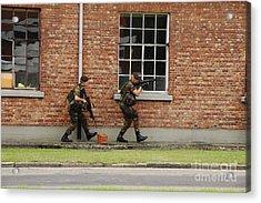 Belgian Soldiers On Patrol Acrylic Print by Luc De Jaeger