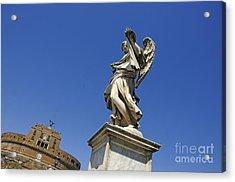 Bernini Statue On The Ponte Sant Angelo Acrylic Print by Bernard Jaubert