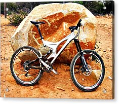 Bicycle Of Decrease In Mountains Acrylic Print by Jenny Senra Pampin