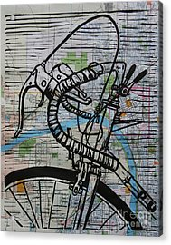 Acrylic Print featuring the drawing Bike 2 On Map by William Cauthern