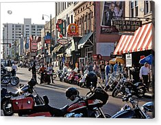 Bikes On Beale Acrylic Print by Dawn Davis