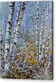 Acrylic Print featuring the painting Birches by Louise Peardon
