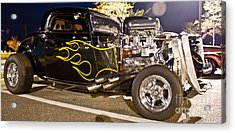 Black Hot Rod Big Engine Acrylic Print by Pictures HDR