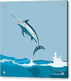 Blue Marlin Fish Jumping Retro Acrylic Print by Aloysius Patrimonio