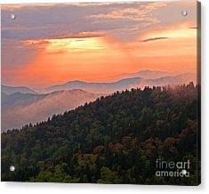 Blue Ridge Sunset Acrylic Print by Bob and Nancy Kendrick