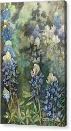 Acrylic Print featuring the painting Bluebonnet Blessing by Karen Kennedy Chatham