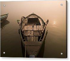 Boat In The Water, Varanasi, India Acrylic Print by Keith Levit