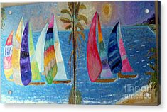Boats At Sunset Acrylic Print by Vicky Tarcau