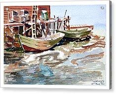 Boats At The Pier Acrylic Print