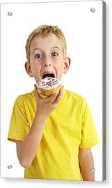 Boy Eating A Doughnut Acrylic Print by Ian Boddy