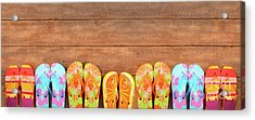 Brightly Colored Flip-flops On Wood  Acrylic Print by Sandra Cunningham
