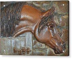 Bronze Arabian Horse Relief Acrylic Print by Valerie  Evanson