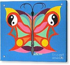 Butterfly Twin2 Acrylic Print by Angela Q