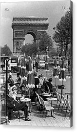 Bw France Paris Triumphal Arch 1970s Acrylic Print by Issame Saidi