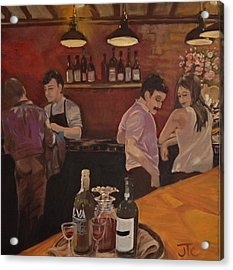 Acrylic Print featuring the painting Cafe by Julie Todd-Cundiff