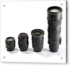 Camera Lenses Acrylic Print by Johnny Greig