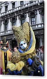 Carnival-goer In Blue And Gold Acrylic Print by Pam Blackstone
