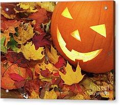 Carved Pumpkin On Fallen Leaves Acrylic Print by Oleksiy Maksymenko