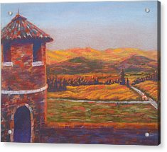 Castello Di Amorosa Acrylic Print by Becky Chappell