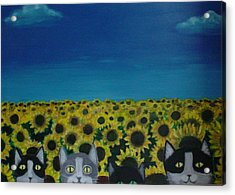 Acrylic Print featuring the painting Cats And Sunflowers by Diana Riukas