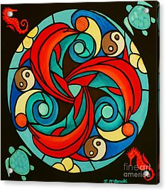 Acrylic Print featuring the painting Celtic Dolphin Mandala by Janet McDonald