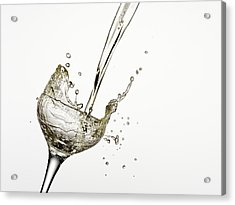 Champagne Being Poured Into Glass Acrylic Print by Andy Roberts