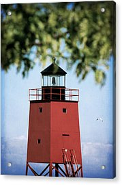 Charlevoix South Pier Lighthouse Acrylic Print by Christy Woods
