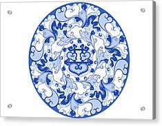Chinese Traditional Blue And White Porcelain Style Pattern Acrylic Print