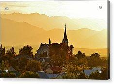 Acrylic Print featuring the photograph Church At Dusk by Werner Lehmann