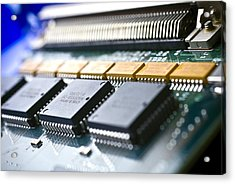 Circuit Board Components Acrylic Print by Arno Massee