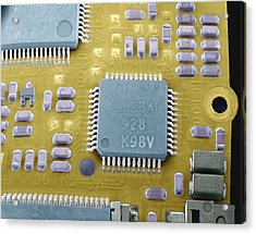 Circuit Board Microchip, Sem Acrylic Print by Steve Gschmeissner