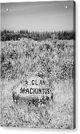 clan mackintosh memorial stone on Culloden moor battlefield site highlands scotland Acrylic Print by Joe Fox