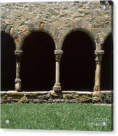 Cloister Of Lavaudieu. Haute Loire. Auvergne. France. Acrylic Print by Bernard Jaubert