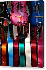 Colorful Guitars Acrylic Print by Jeff Lowe