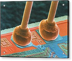 Coloured Sem Of Integrated Circuit Micro-wires. Acrylic Print by Power And Syred