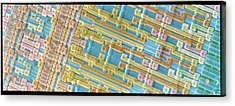 Coloured Sem Of Surface Of An Eprom Silicon Chip Acrylic Print by Power And Syred