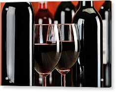 Composition With Glasses And Bottles Of Wine Acrylic Print by T Monticello