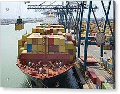 Container Ship And Port Acrylic Print by Dr Juerg Alean