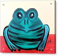 Acrylic Print featuring the painting Contented Male Frog by Margaret Harmon