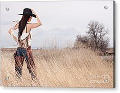 Country Girl Acrylic Print by Cindy Singleton