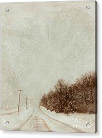 Country Road In Snow Acrylic Print by Jill Battaglia