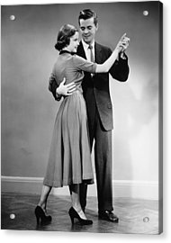 Couple Dancing In Studio, (b&w) Acrylic Print by George Marks