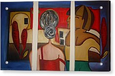 Couple On Window Acrylic Print by Shakhenabat Kasana