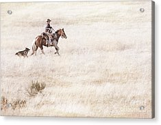 Cowboy And Dog Acrylic Print by Cindy Singleton